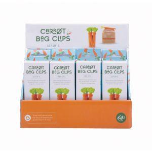 Quirky Kitchen Carrot Bag Clips (Set of 5/12Disp) Orange 11.4x2.4cm
