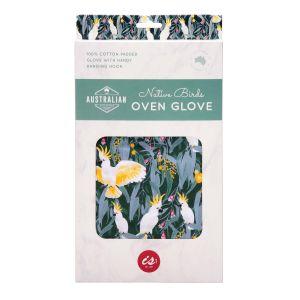 The Australian Collection Oven Glove - Birds Green 28x17cm