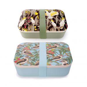 The Australian Collection Bamboo Lunch Box - Birds (3Asst) Assorted 19.8x12.8x6.5cm