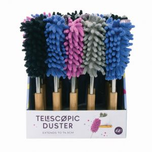 Quirky Kitchen Telescopic Duster (4Asst/20Disp) Assorted Extends from: 27cm to 74.5cm