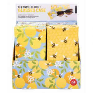 Is Gift Snap Shut Glasses Case & Cleaning Cloth - Bees (4Asst) Assorted 18x9x0.5cm