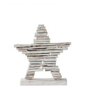 Rogue Driftwood Star White Wash 28x7x29cm