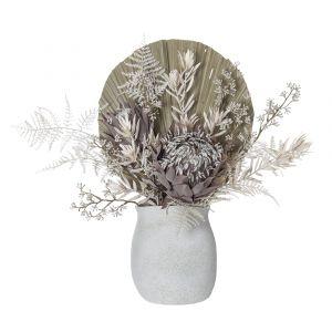 Rogue Dried Look Protea Mix-Maliah Pot White/Cream 53x24x47cm