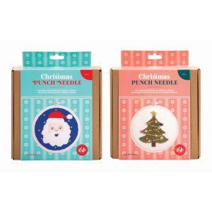 Is Gift Punch Needle Kit-Christmas (2asst)Tree&Santa Multi 16x1.5x17cm