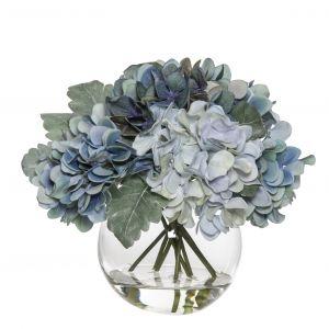 Rogue Hydrangea Mix-Sphere Vase Soft Mix/Glass 25x24x24cm