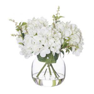 Rogue Hydrangea Mix-Adina Vase White/Glass 34x34x38cm