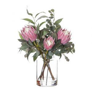 Rogue Native Protea Mix-Pail Vase Pink/Glass 43x40x53cm