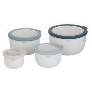Grand Designs Kitchen Grand Designs Stack & Store Bowls Set/4 White/Grey/Green 550mL/1.5L/2.1L/3.4L 22x22x13