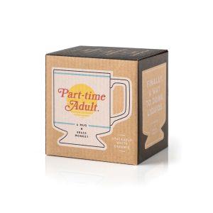 Brass Monkey Pedestal Mug – Part-time Adult  White Ceramic