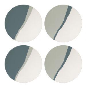 Davis & Waddell Flinders Bamboo Fibre Plates Set/4 Black/Natural 25x25x2cm