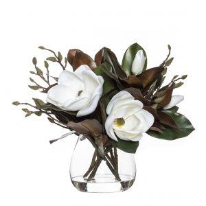 Rogue Magnolia Grand Flower Mix-Garden Vase White/Glass 56x47x48cm
