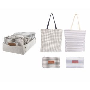 Academy Foldable Bag 2 Asst Designs with Jute Display Tray 8 Black Grid/8 Grey Stripe 45x42x0.3cm + Handle