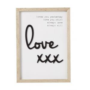 Emporium Love Plaque White/Black 26x1.5x36cm
