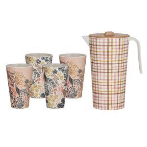 Australiana Maisie Bamboo Fibre Drinks Set 5pce Maisie Pitcher 23x18x12cm/1.7lt/4 Tumbler 13x8x8cm/400ml