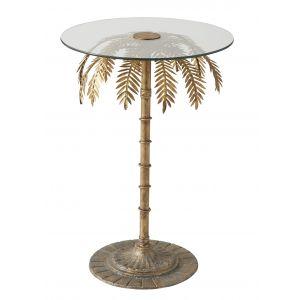 Amalfi Palm Tree Side Table (KD) Gold/Clear 43x43x73cm