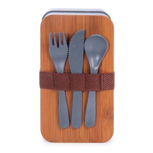 Is Gift Wheat Straw Bento Box With Cutlery (2Asst) Assorted 18x10.5x9.2cm