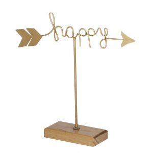 Emporium Happy Sculpture Gold/Natural 21.5x24cm