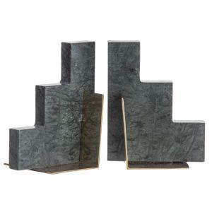 Amalfi Stepwell Bookends Set/2 Green/Antique Brass 13x8x16cm