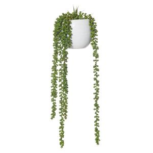 Rogue Hanging Pearls-Tub Pot Green/White 18x19x66cm