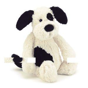 Jellycat Bashful Black & Cream Puppy Medium Cream 31x12x15cm