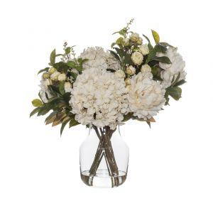 Rogue Rose Bud Garden Mix-Monica Vase Cream/Glass 54x44x52cm