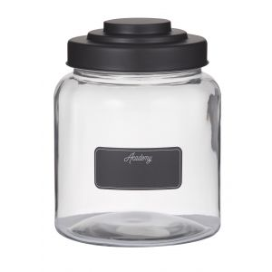 Academy Academy Glass Display Jar with Blackboard Label Clear/Black 16x16x20.5cm/2.6L