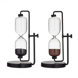 Amalfi Jones Hourglass 15 Minutes 2 Asst Colours Black/Black Ink/Salmon 12.5x12.5x28.5cm