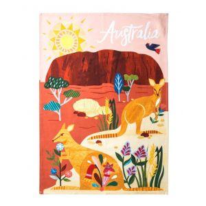 Australiana Outback Tea Towel Pink/Multi 50x70x0.2cm