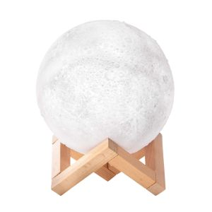 IS GIFT Full Moon - Colour Changing Light  White With wooden stand