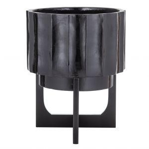 Amalfi Arman Planter Pot On Stand (KD) Black 36x36x45.5cm