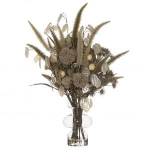 Rogue Pampas Silver Dollar Mix-Imogen Vase Cream/Glass 52x43x83cm