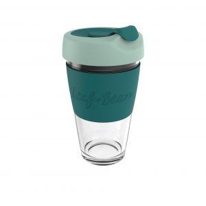Leaf & Bean Sorrento Glass Travel Cup Clear/Moss/Forest 8.5x8.5x16.5cm/454ml/16oz