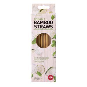 IS GIFT Reusable Bamboo Straws   Natural set of 4
