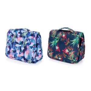 The Australian Collection Hanging Toiletry Bag - Botanical (2Asst) Assorted Hanging:37x24x8cm Folded:25x24x10cm