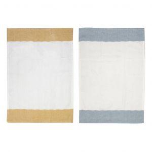 Davis & Waddell Herringbone Tea Towel Set/2 Natural/Terracotta/Navy 50x70cm