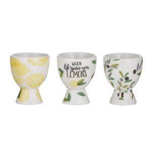 Davis & Waddell Sicily Egg Cups 3 Asst Designs Multi 6x6x7cm