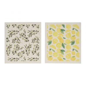 Davis & Waddell Sicily Swedish Dishcloth 2 Asst Designs 12 Lemons/12 Olives 17x0.2x20cm