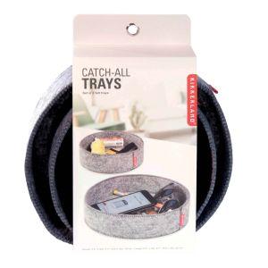 Kikkerland Catch-All Trays (Set of 2) Grey Felt