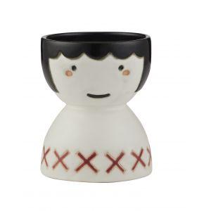 Emporium Poppy Face Vase White/Black/Red 11x11x14cm
