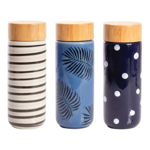Is Gift Eco Bottle Double Walled Ceramic - Patterns (3Asst) Assorted 7x5.5x17.5cm