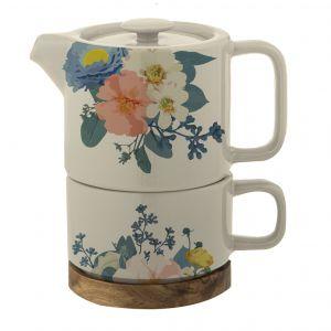 Leaf & Bean Floralison Tea For One with Infuser Natural/Multi 14.5x9.5x15cm/Teapot 400ml/Cup 250ml/Trivet 10x10x1cm
