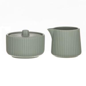 Leaf & Bean Estelle Creamer & Sugar Bowl Sage Creamer 7x7x6.4cm/140mL Sugar Bowl L9x9x5cm/350ml