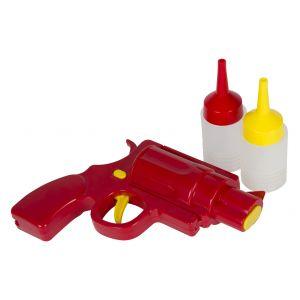 Davis & Waddell Condiment Gun Set 3pce Red/Yellow Gun 22.5x16x5.5cm/2 Bottles 100ml