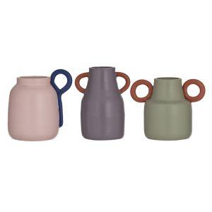 Amalfi Haimi Vessel 3 Asst Colours/Design 2 Eggplant & Terracotta/2 Sage & Terracotta/2 Pink & Dark Blue 17x10.5x13.5cm/11.5x10x16cm/14.5x12x16cm