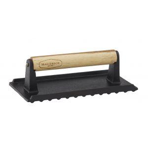 Davis & Waddell Cast Iron Press with Acacia Handle Black/Natural 20x10x6.5cm