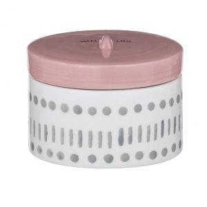 Emporium Coco Face Trinket Box White/Pink/Grey 7x9cm
