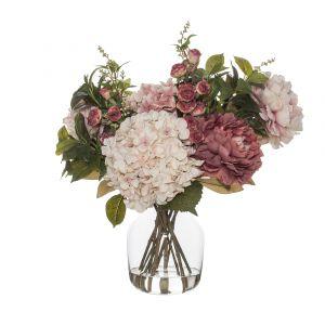 Rogue Rose Bud Garden Mix-Monica Vase Pink/Glass 54x44x52cm