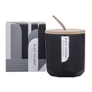 Amalfi Mondo Scented Candle Jar Black Coconut Fragrance 8x8x9cm