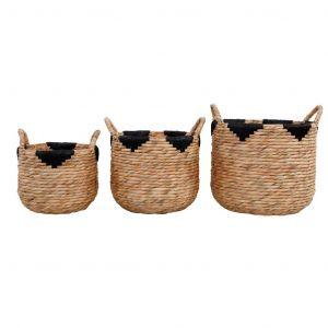 Amalfi Henrik Baskets Set/3 Natural/Black 30x30x25cm/35x35x30cm/40x40x35cm