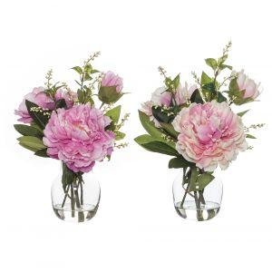 Rogue Peony Nite Berry Mix-Adina Vase 2 Asst. Pack of 4 Pink/Glass 29x28x37cm